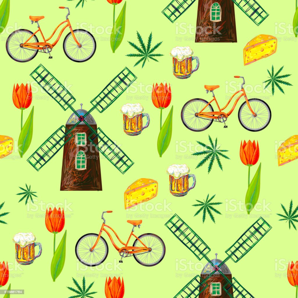 Netherlands seamless pattern with windmill, bicycle, cheese, beer, marijuana, tulips vector art illustration
