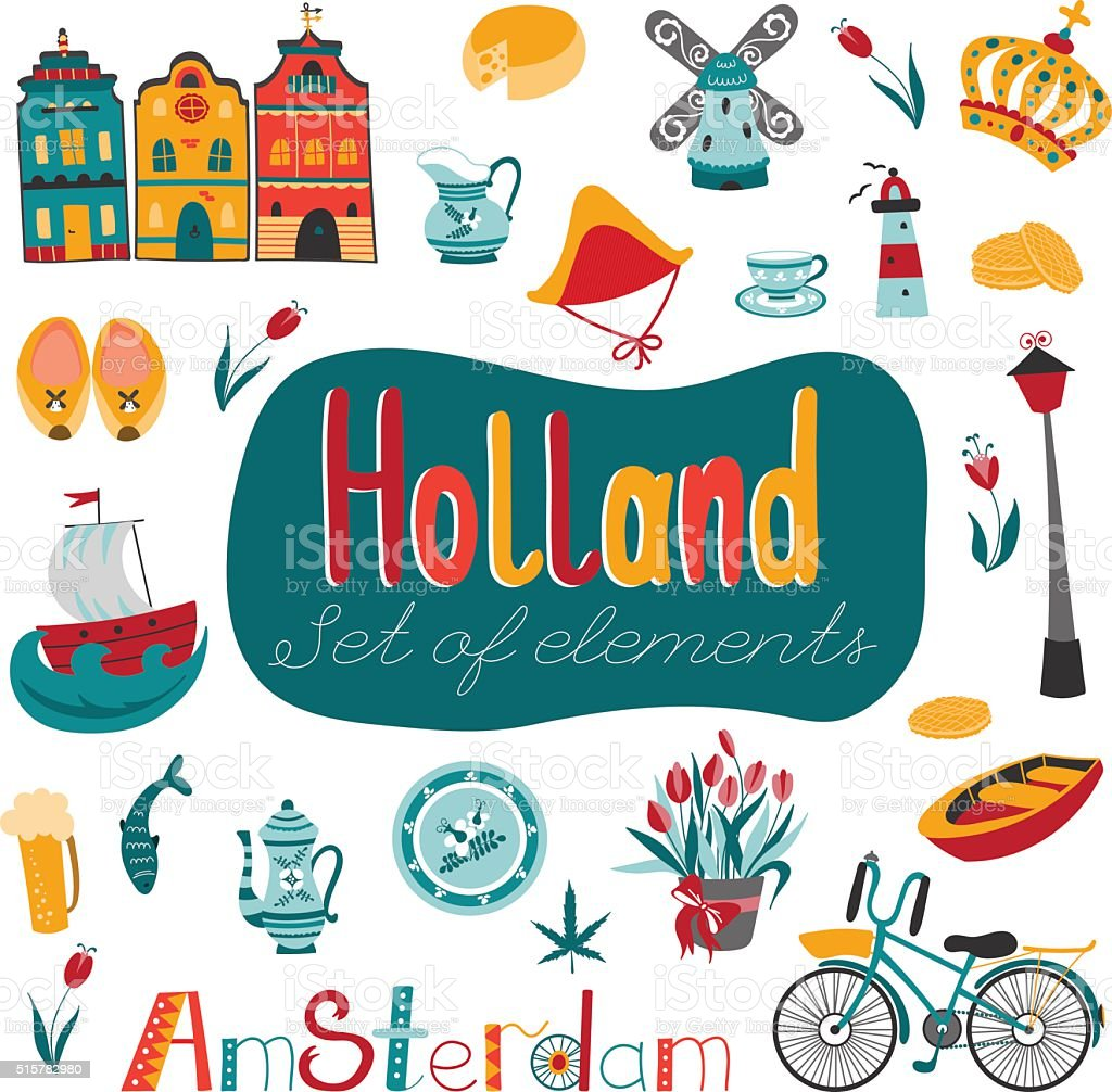 Netherlands set of elements vector art illustration