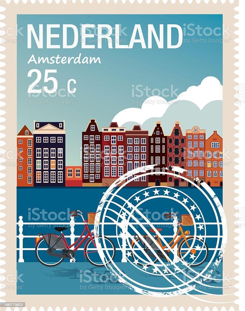 Netherlands Stamp vector art illustration