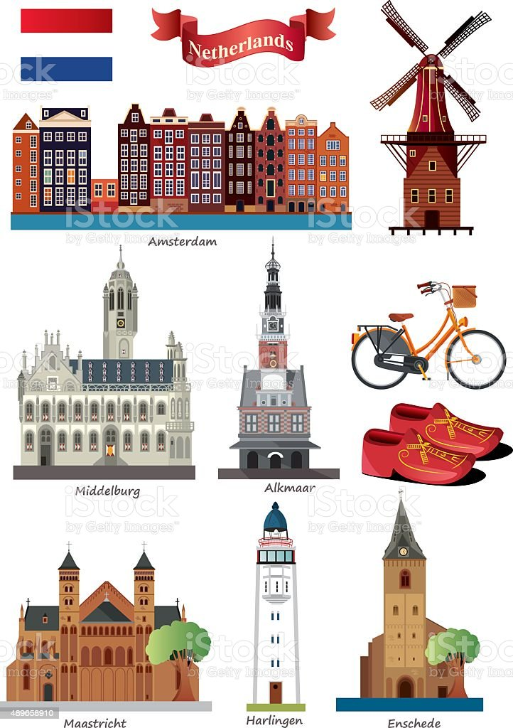 Netherlands Symbols vector art illustration