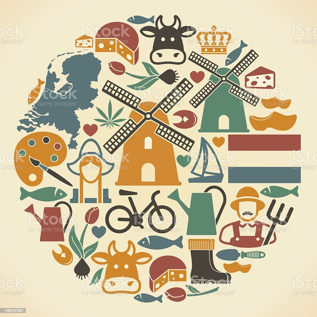 Netherlands symbols vector art illustration