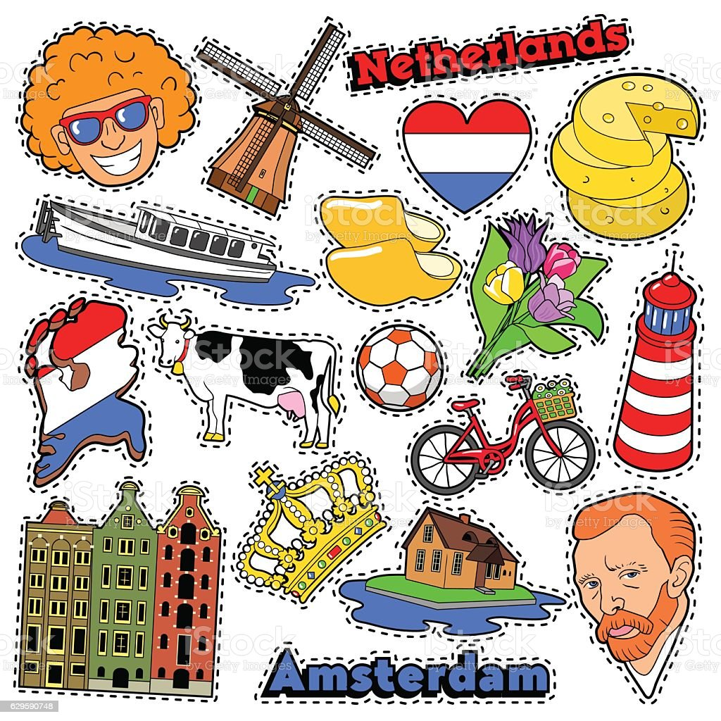 Netherlands Travel Stickers, Patches, Badges vector art illustration