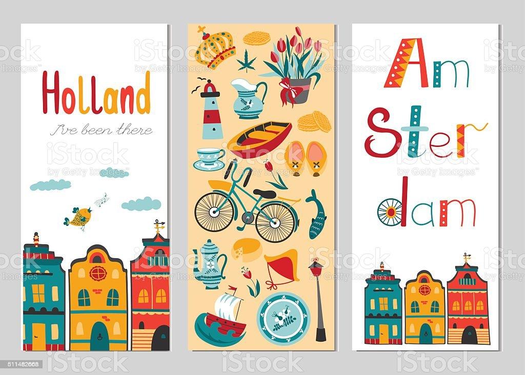 Netherlands vertical banner templates vector art illustration