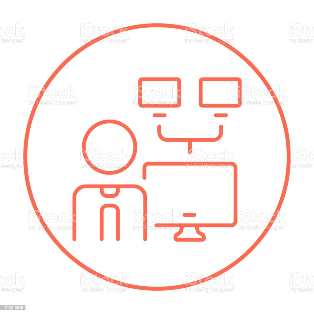 Network administrator line icon vector art illustration