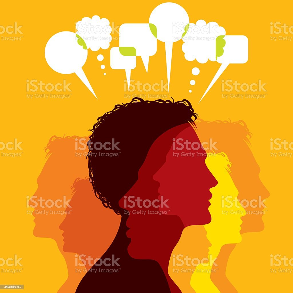 network and communicate in speech bubbles vector art illustration