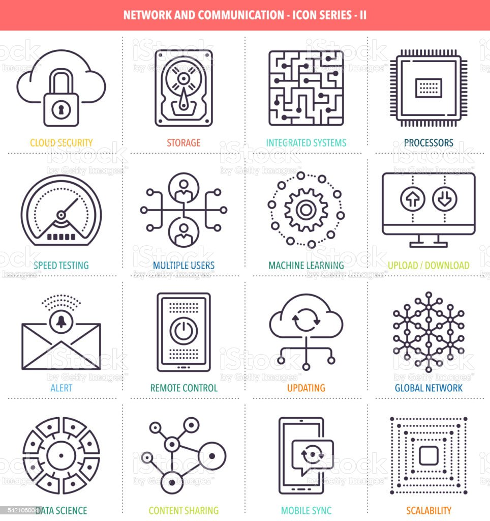 Network and Communication Icon Set vector art illustration