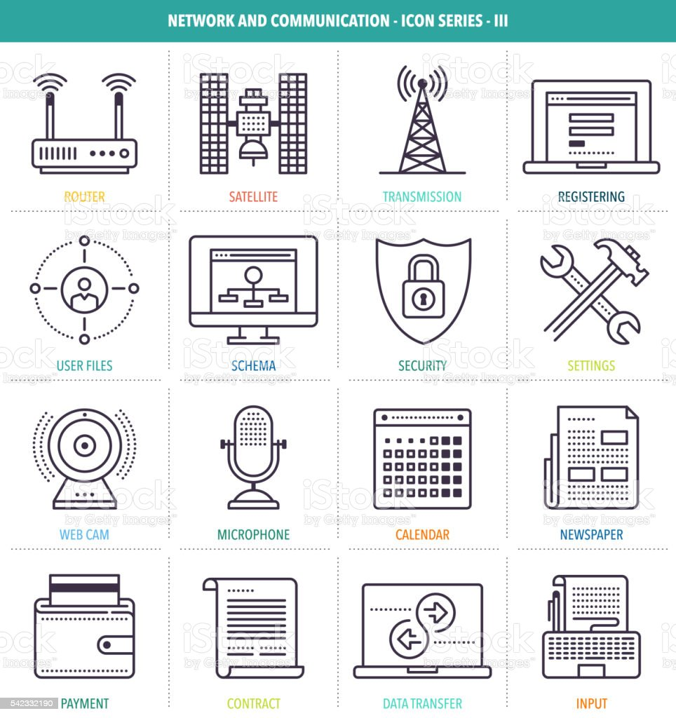 Network and Communication Icons vector art illustration