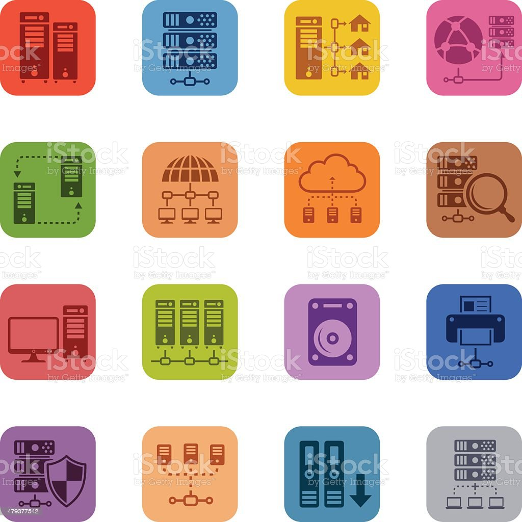 Network and Hosting Icon Set vector art illustration