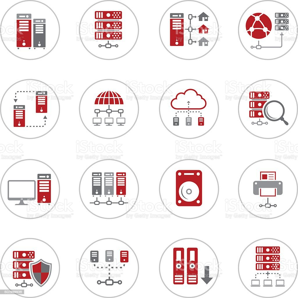 Network and Hosting Icons vector art illustration