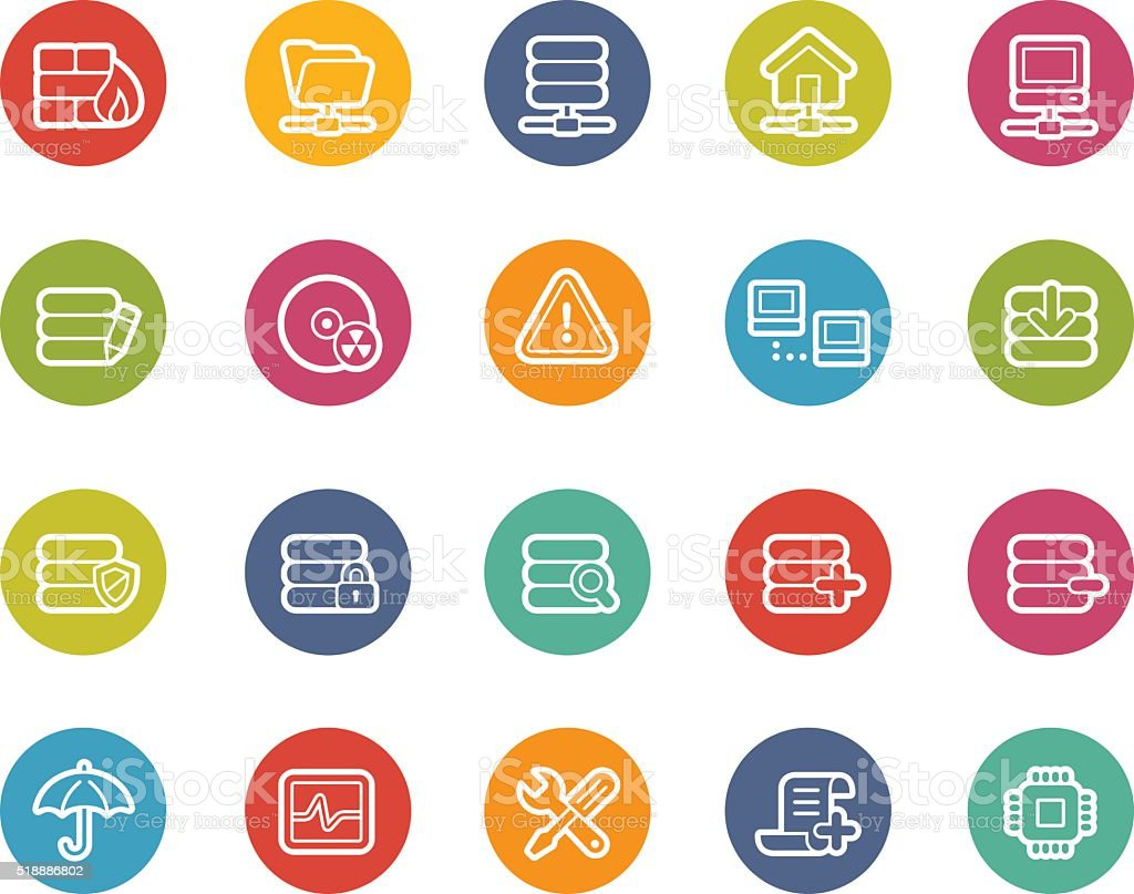 Network and Server Icons - Printemps Series vector art illustration