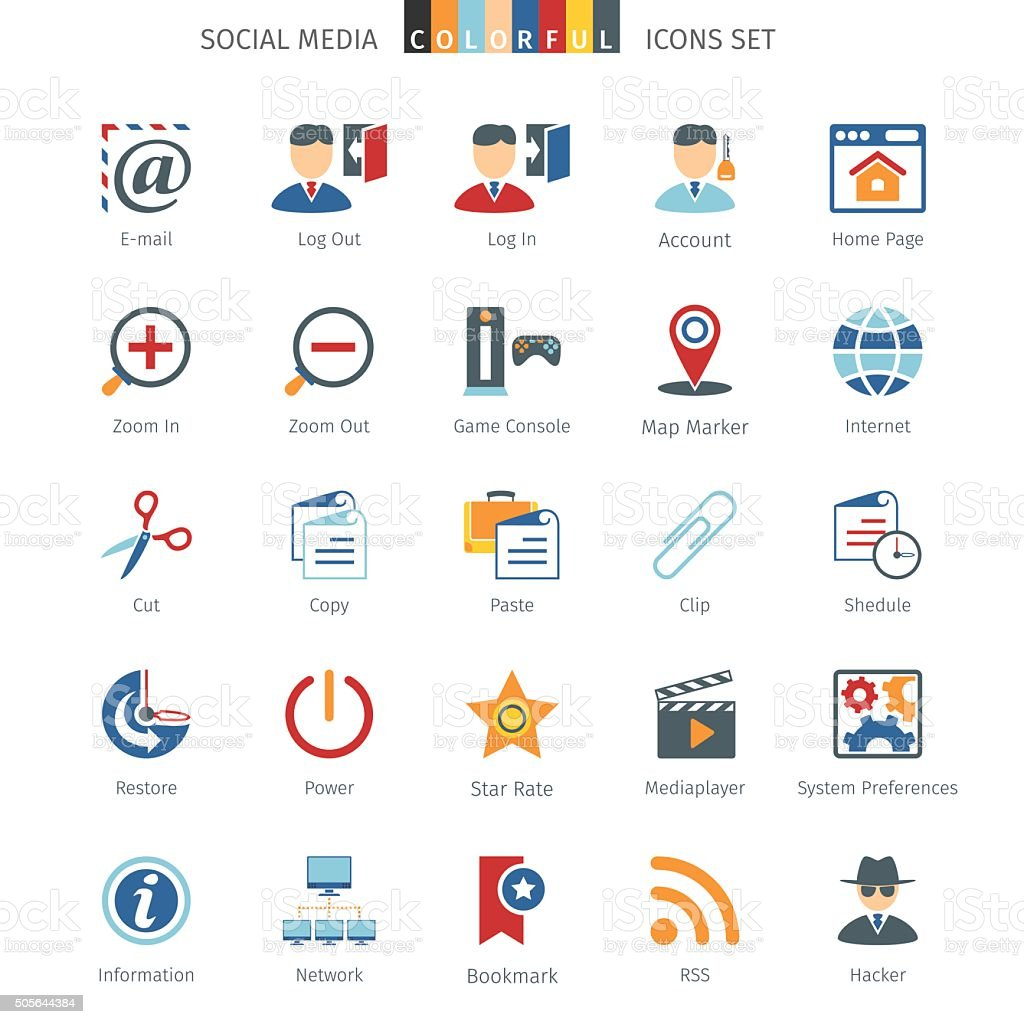 Network Colorful Icons vector art illustration