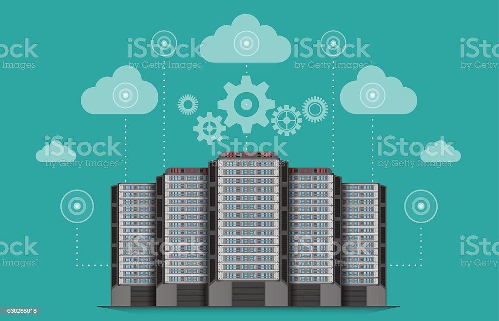 Network communications server computer concept. vector art illustration
