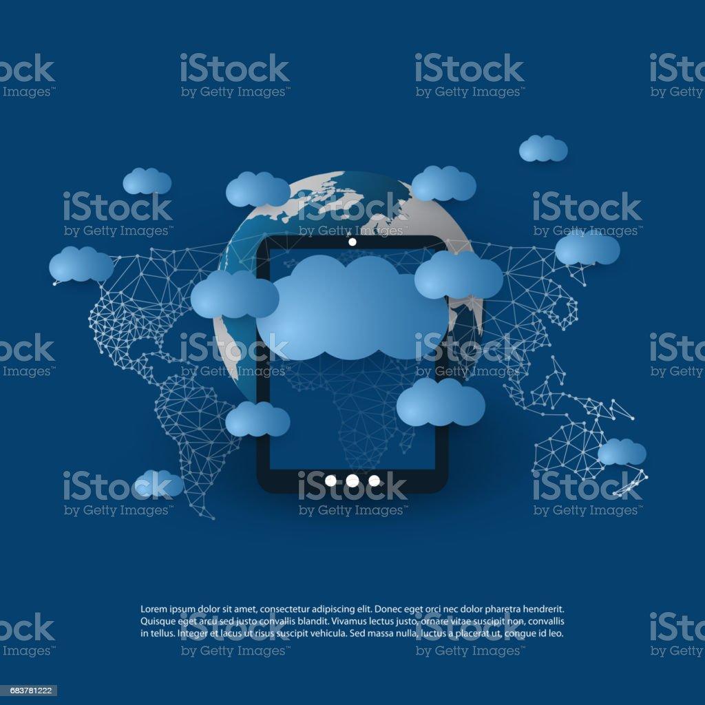 Network Connections, Cloud Computing Concept vector art illustration