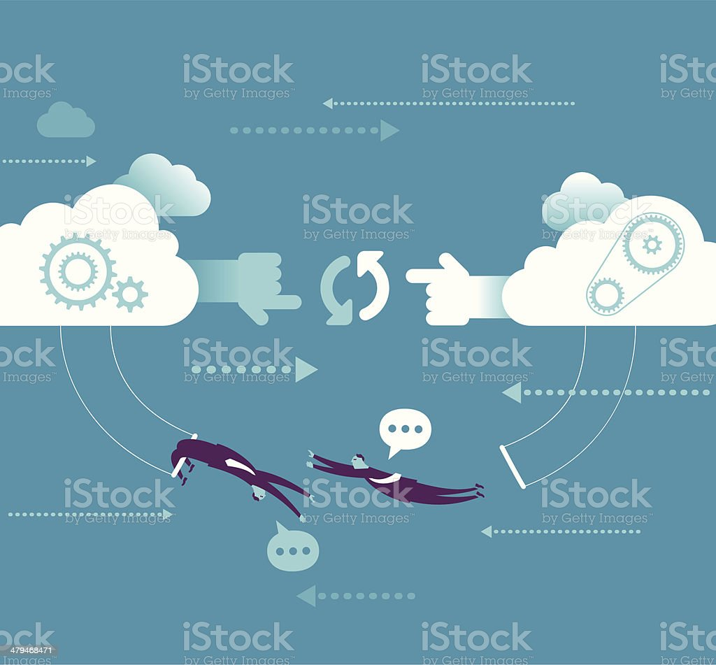 Network cooperation vector art illustration