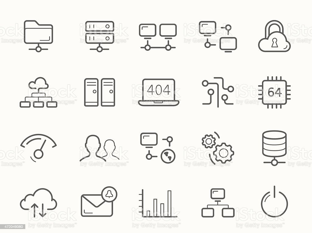 Network Hosting and Servers Line Icons vector art illustration