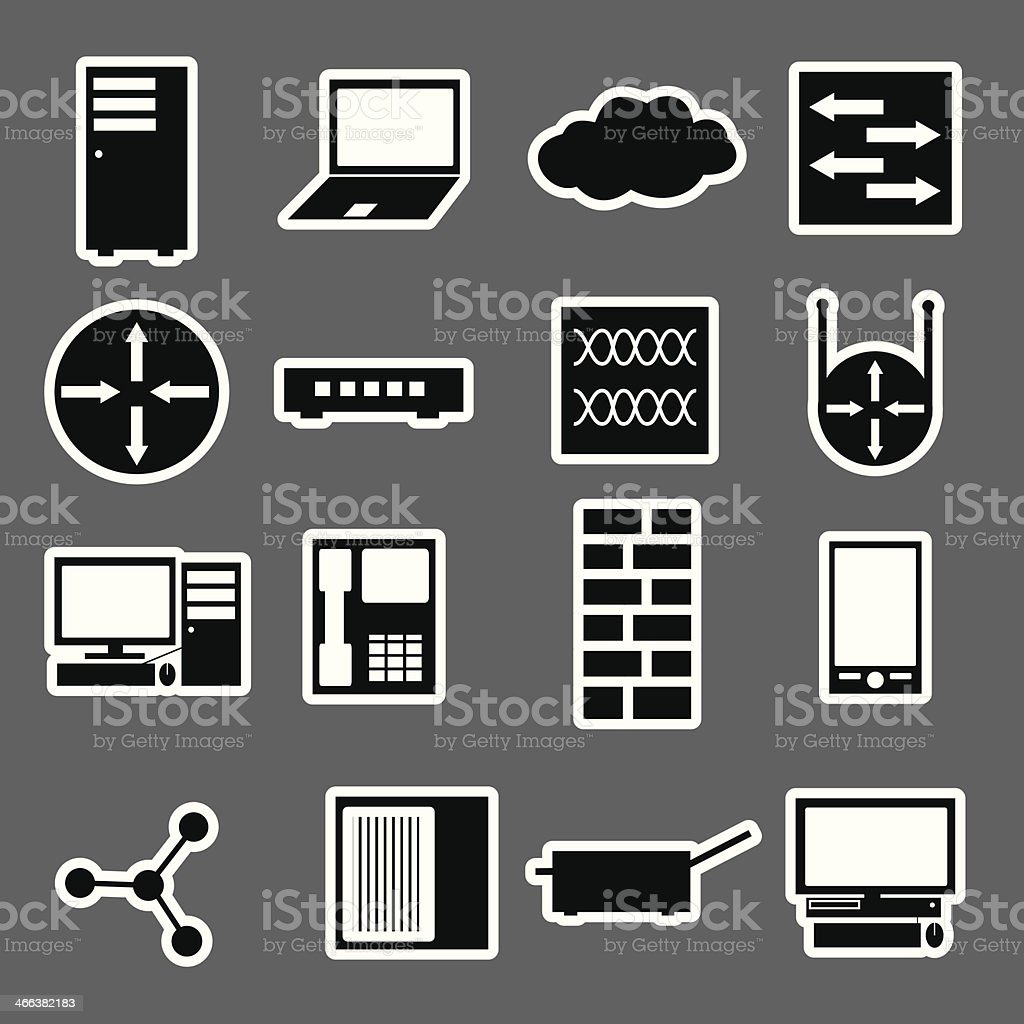 network icon stickers collection eps10 royalty-free stock vector art