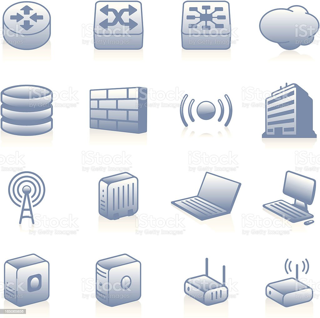 Network Icons - Blue royalty-free stock vector art