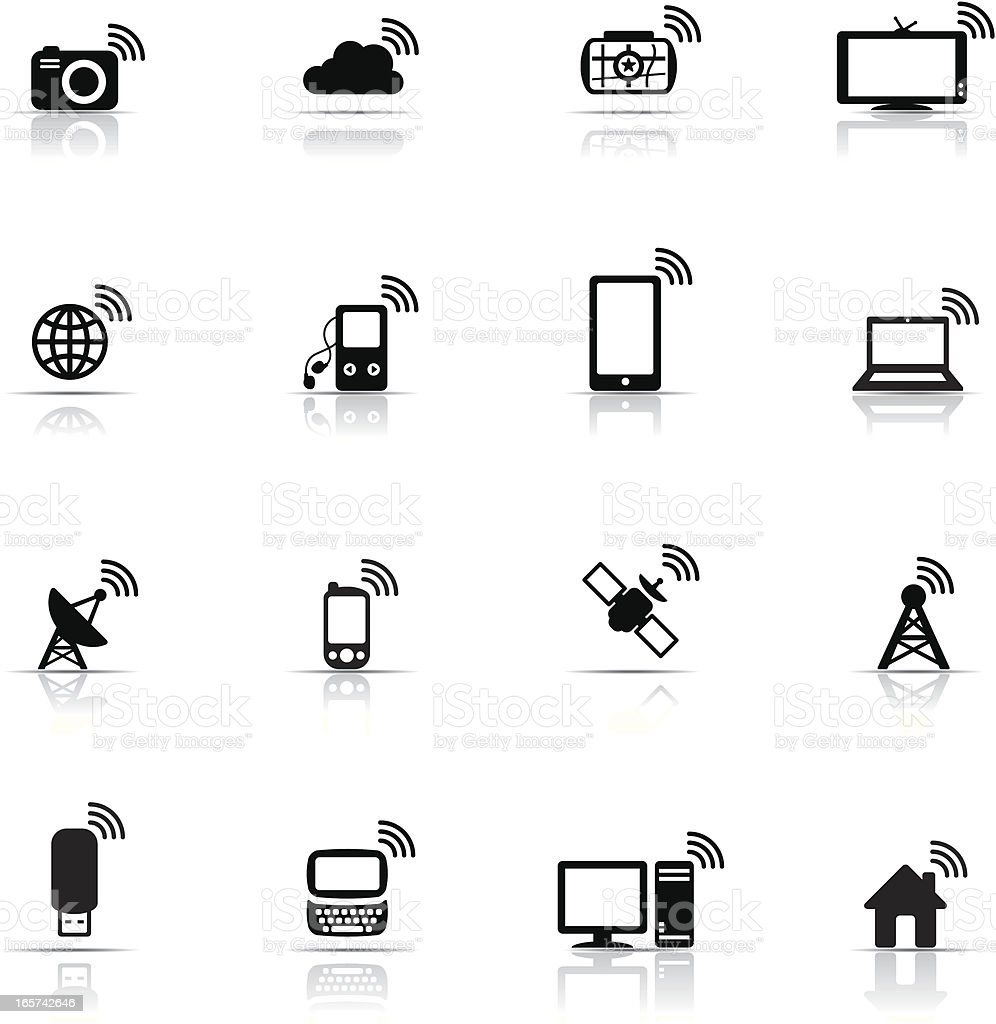 Network icons in black and white vector art illustration