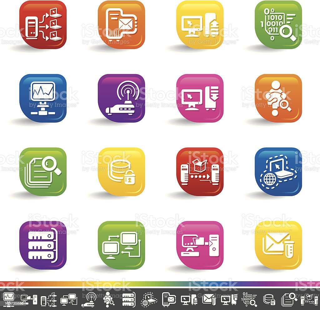 Network icons | Rainbow Series royalty-free stock vector art