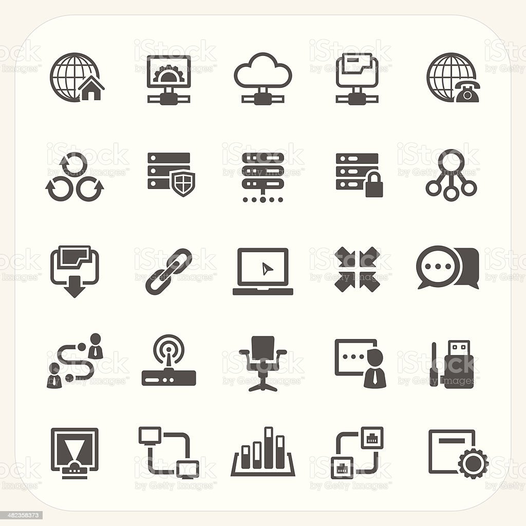 Network icons set vector art illustration