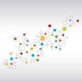 Network illustration on abstract grey gradient background