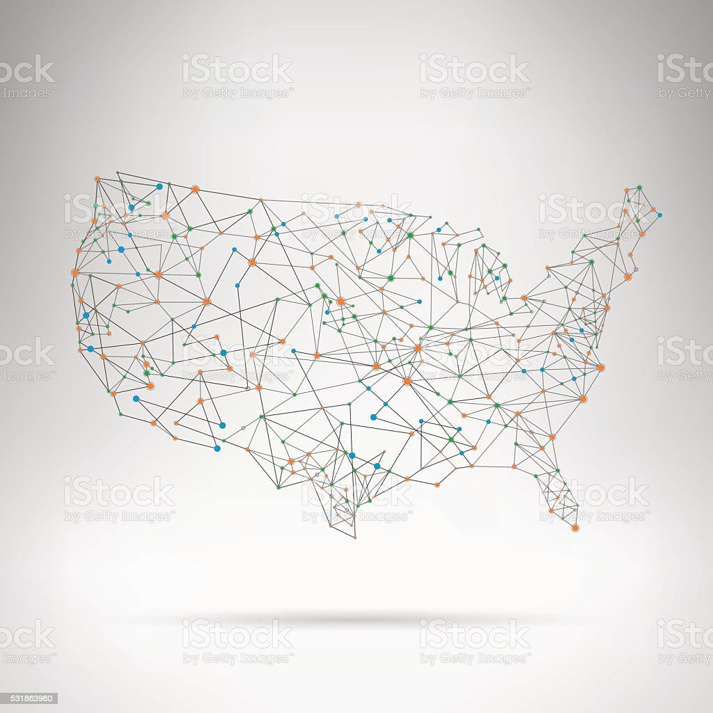 USA network map with shadow on grey background vector art illustration
