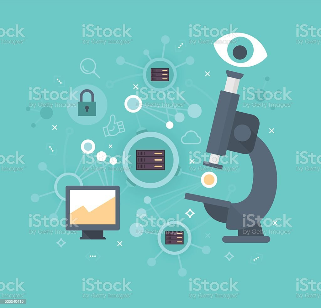 Network Research Concept vector art illustration