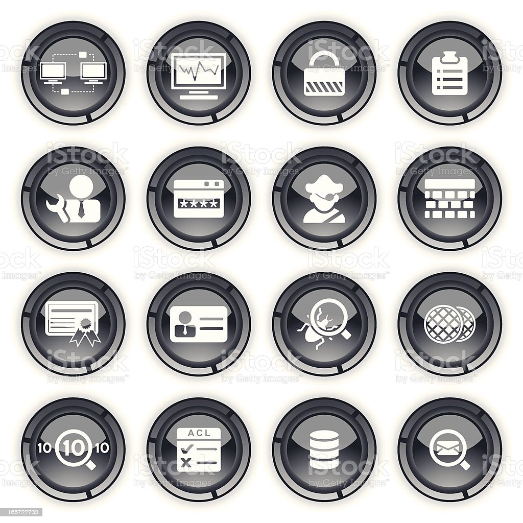 Network Security and Monitor | Grey Buttons royalty-free stock vector art