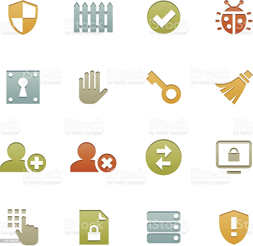 Network + Security Icons   Letterpress Series royalty-free stock vector art