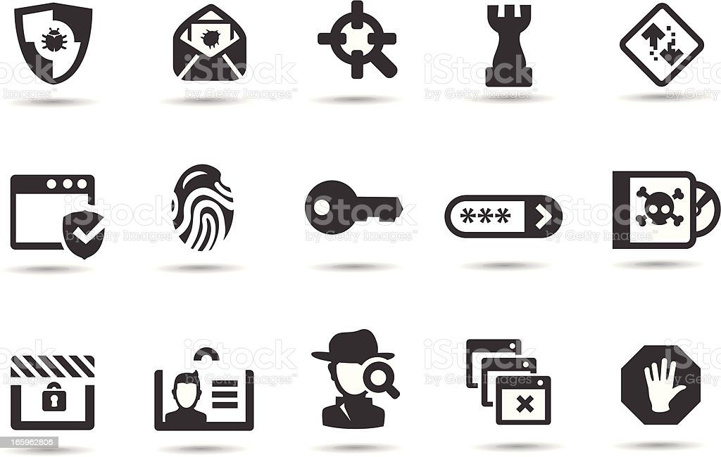 Network Security Icons vector art illustration