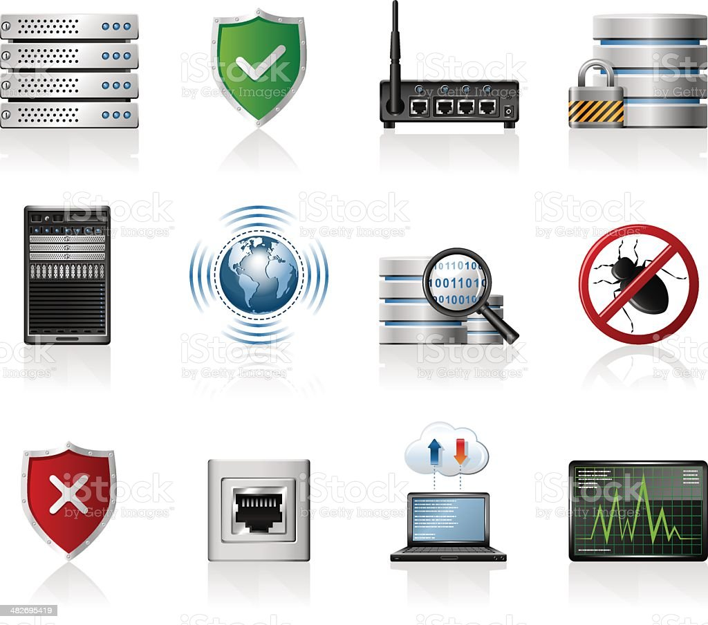 Network & Security Icons vector art illustration