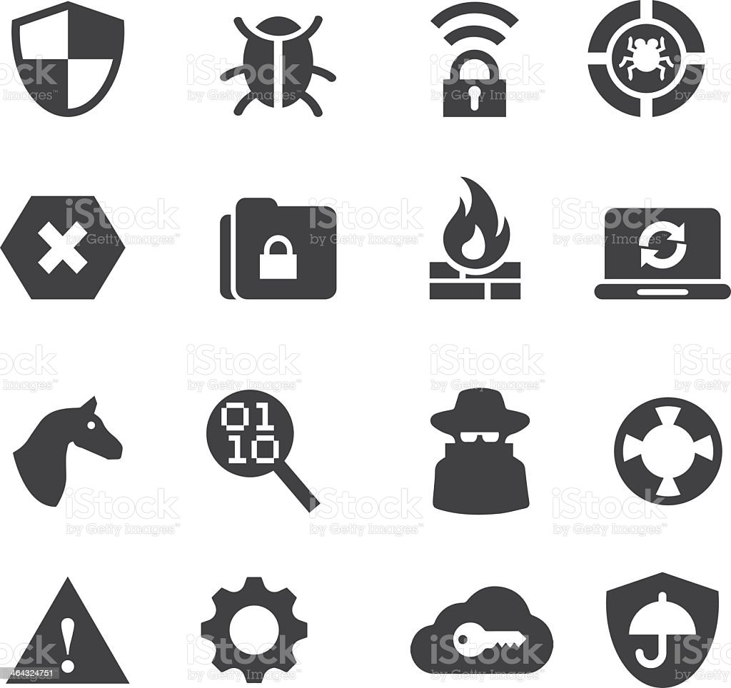 Network Security Silhouette icons vector art illustration