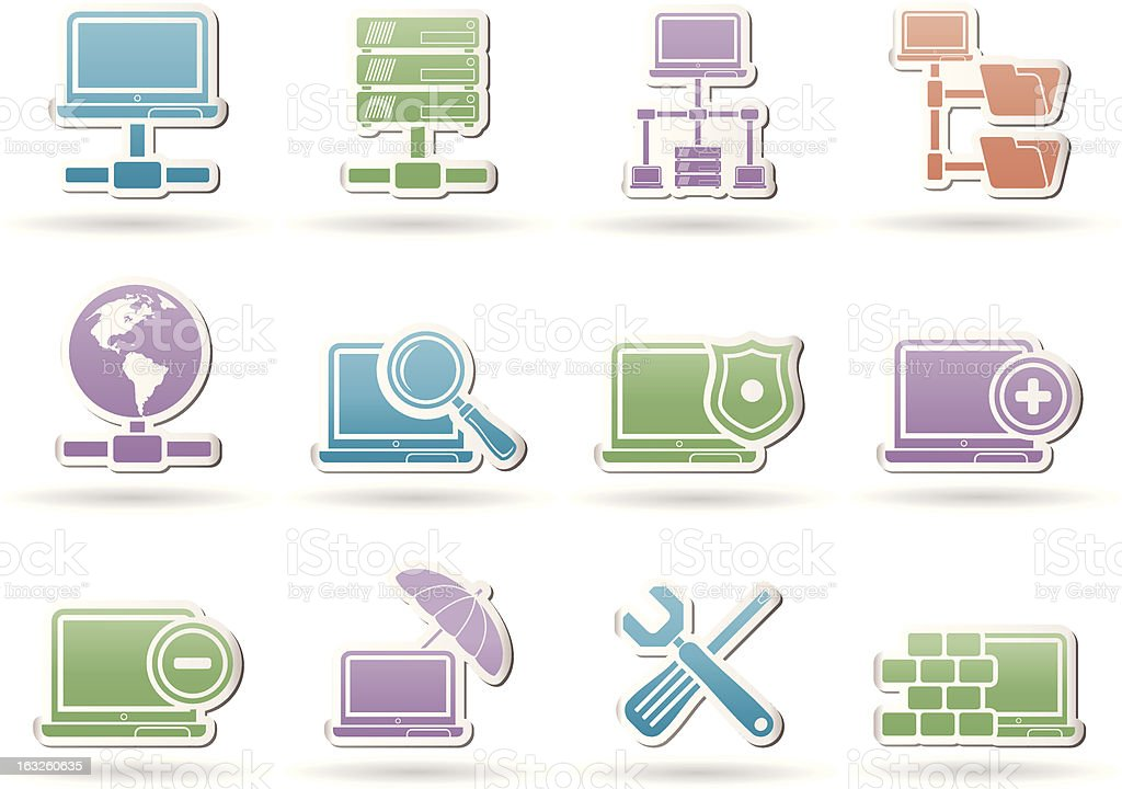 Network, Server and Hosting objects royalty-free stock vector art