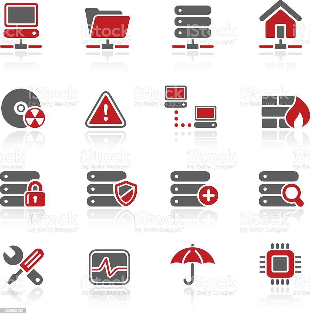 Network, Server & Hosting Icons // Redico Series vector art illustration