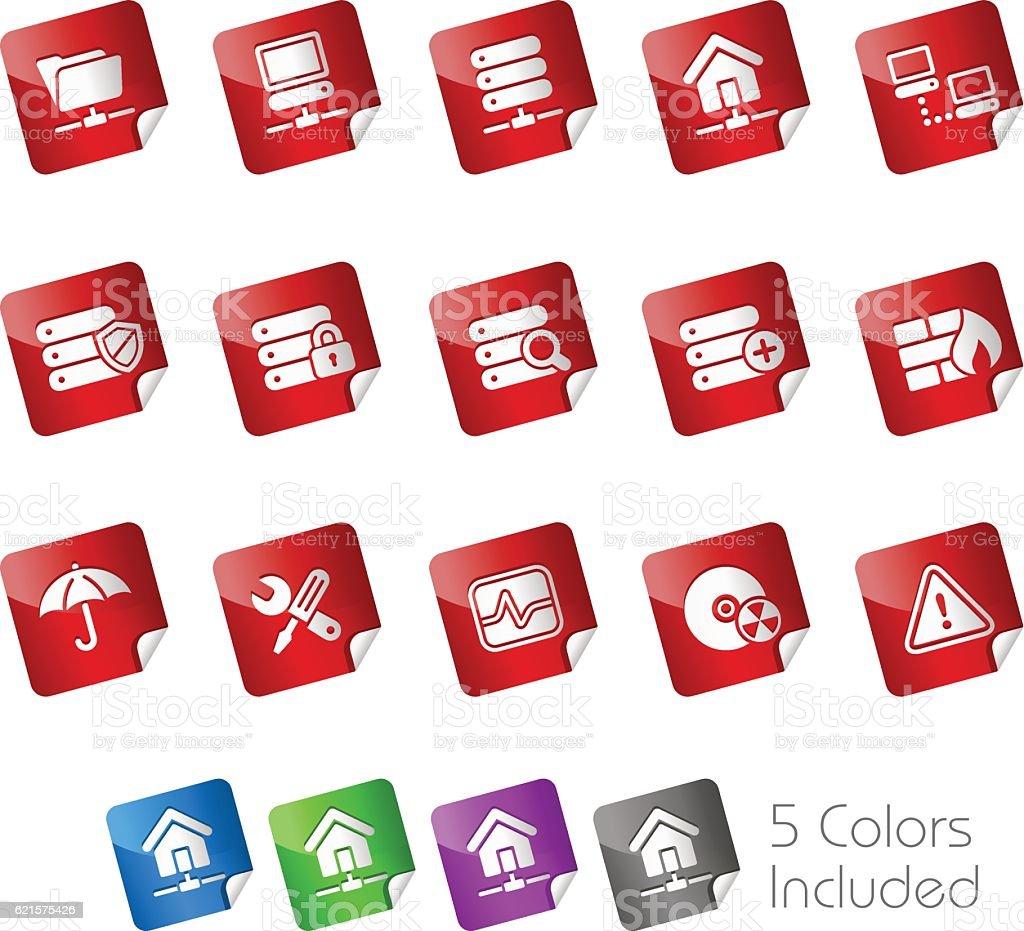Network, Server & Hosting Icons // Stickers Series vector art illustration