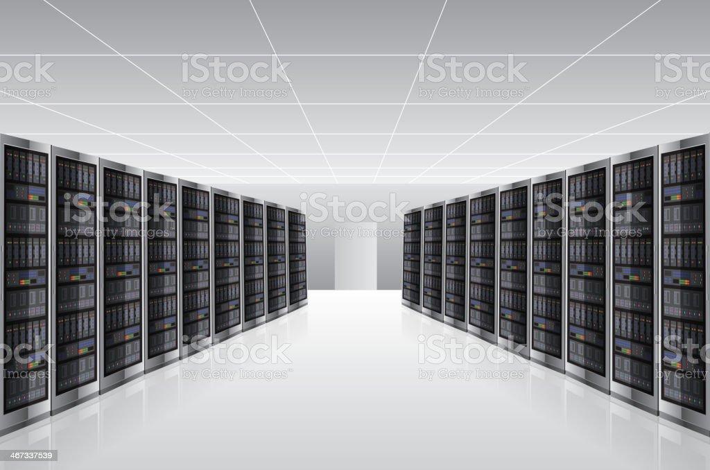 Network Server house vector art illustration