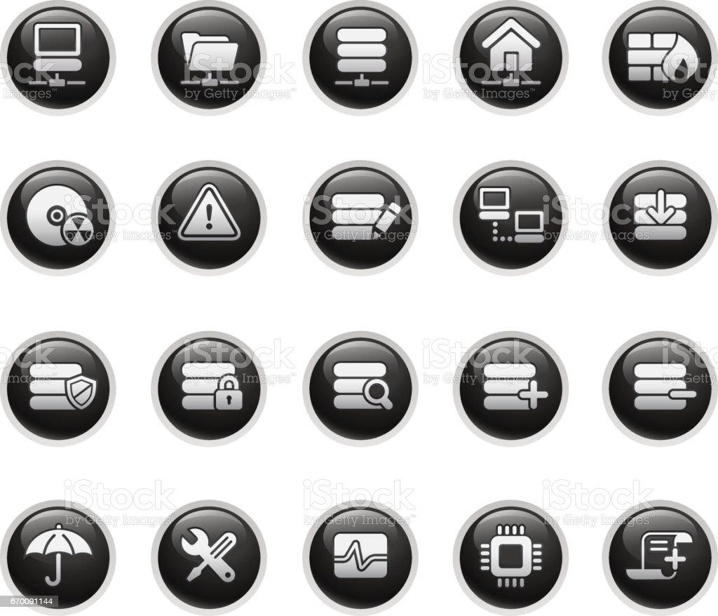 Network & Server Icons // Black Buttons vector art illustration