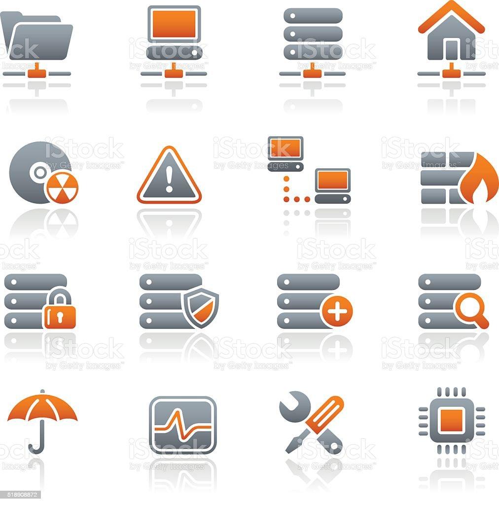 Network & Server Icons - Graphite Series vector art illustration