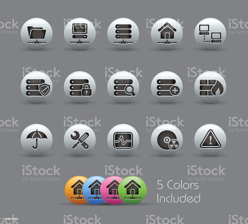 Network & Server Icons - Pearly Series vector art illustration