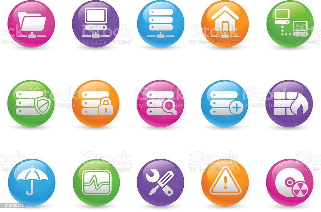 Network & Server Icons - Rainbow Series vector art illustration
