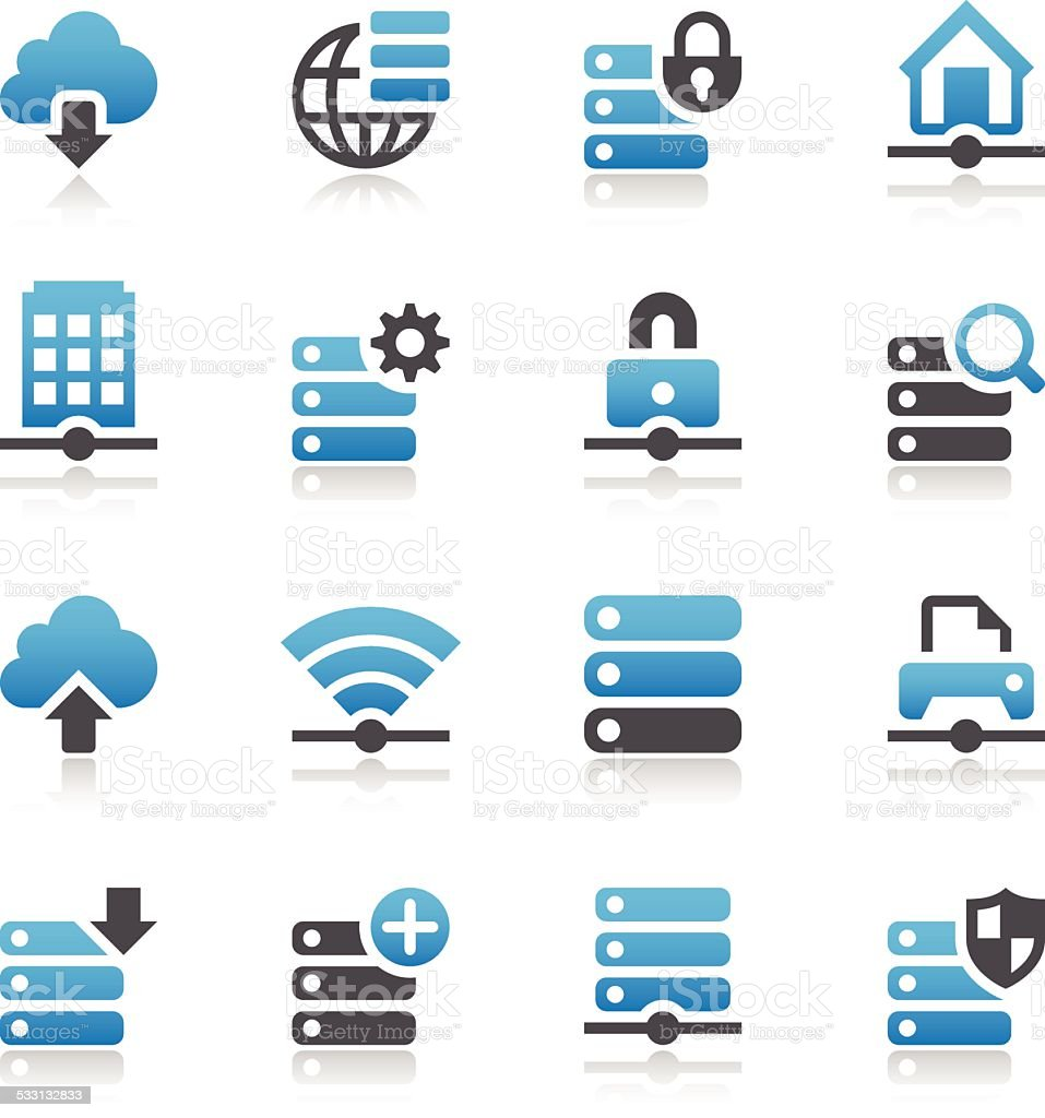 Network & Servers Icon Set vector art illustration