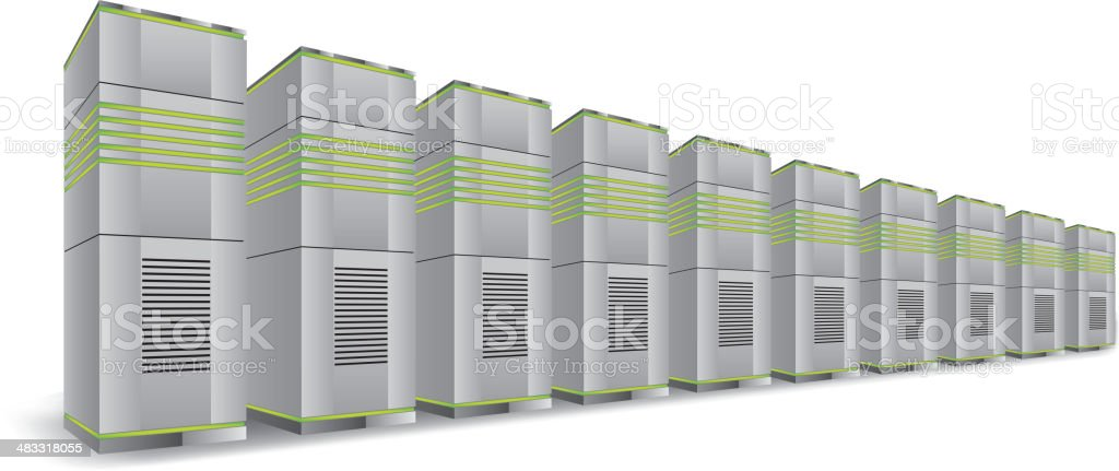 Network servers in a row vector art illustration