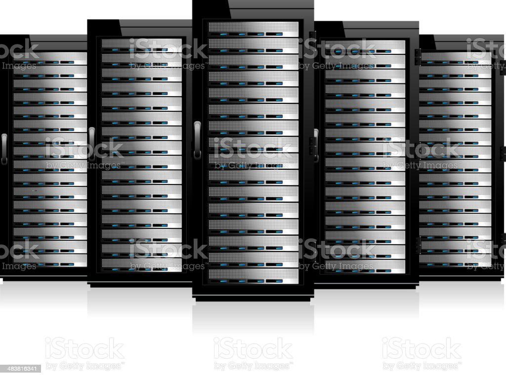 Network Servers in Cabinets royalty-free stock vector art