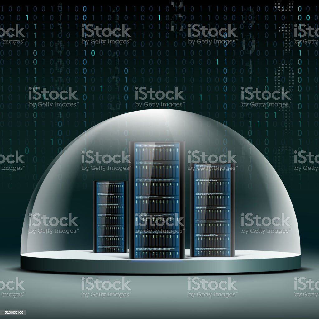 Network servers under a glass dome. vector art illustration