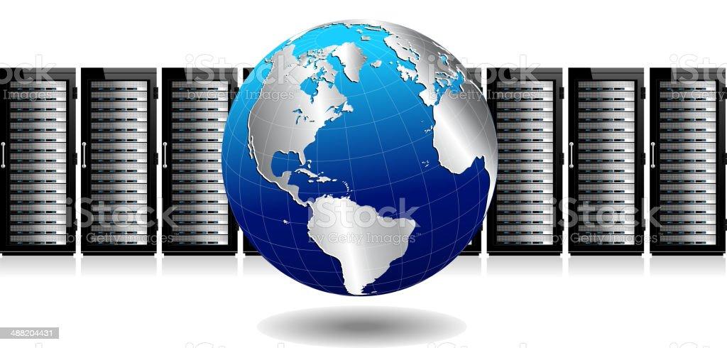 Network Servers with Globe vector art illustration