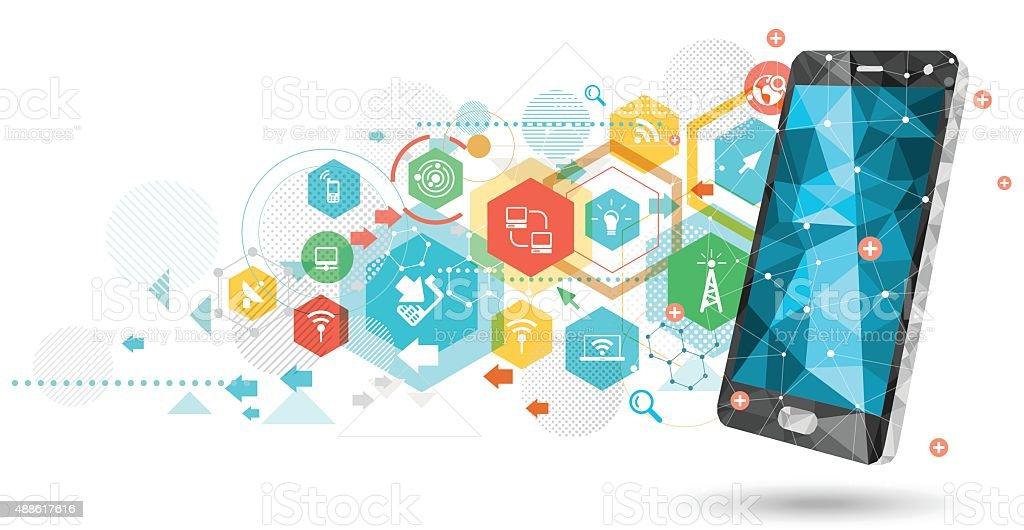 Network smartphone vector art illustration
