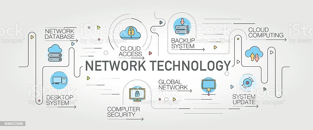 Network Technology banner and icons vector art illustration