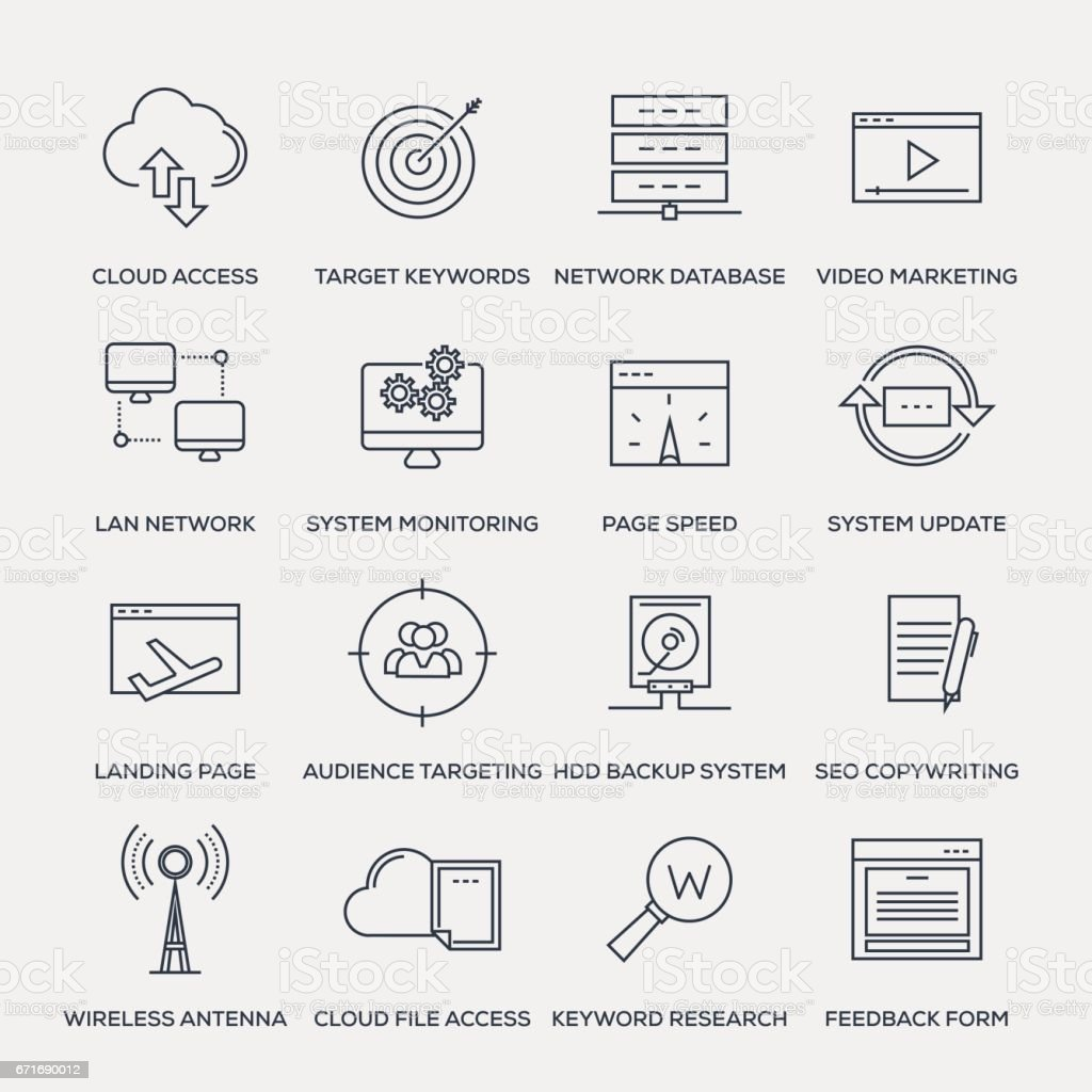 Network Technology Icon Set - Line Series vector art illustration