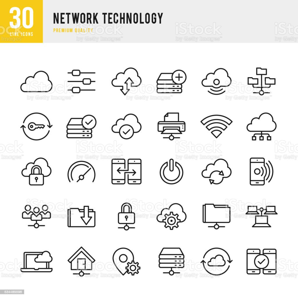 Network Technology - Thin Line Icon Set royalty-free stock vector art