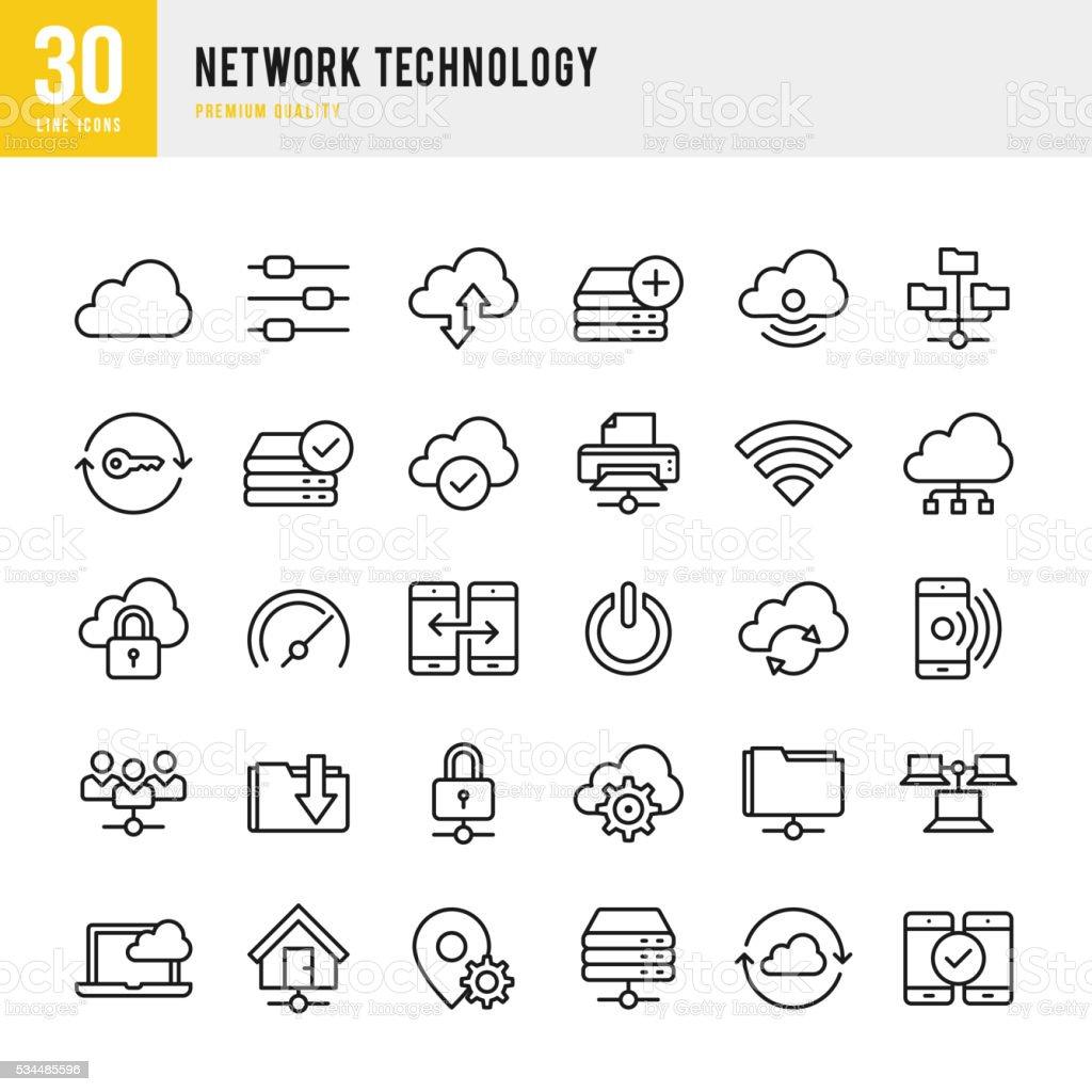 Network Technology - Thin Line Icon Set vector art illustration
